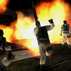 Three terrorists, one flaming