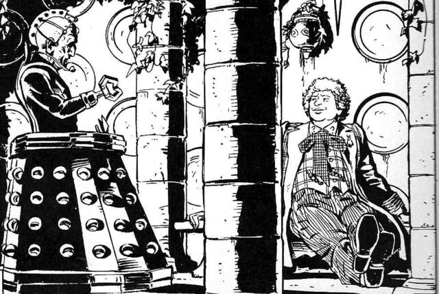 File:Sixth Doctor Davros in TARDIS Up Above the Gods.jpg