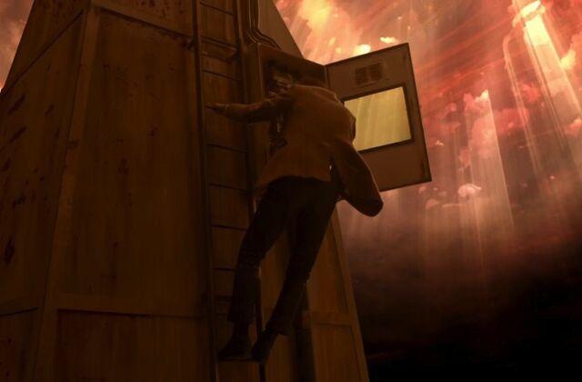 File:Doctor on ladder tower The Rebel Flesh.jpg