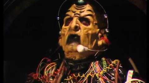 The Doctor mocks Davros - Doctor Who - Remembrance of the Daleks - BBC