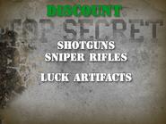 Shotguns, sniper rifles, artifacts discount