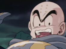 Krillin being attacked by the tentacle monster