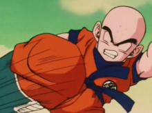 Krillin attacking a Freeza soldier