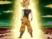 Goku after transforming into a Super Saiyan for the first time