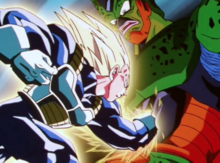 Vegeta punches Cell