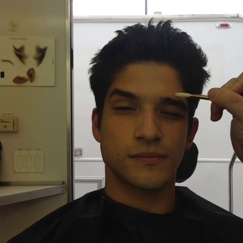 File:Teen Wolf Season 3 Behind the Scenes Tyler Posey Transformation prosthetic prep 1.png