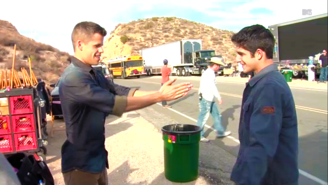 File:Teen Wolf Wikia Season 3 Behind the Scenes Buss Highway Charlie Carver Tyler Posey.png