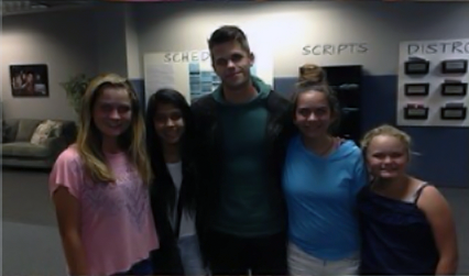 File:Teen Wolf Season 3 Behind the Scenes Max Carver and fans in production office.png