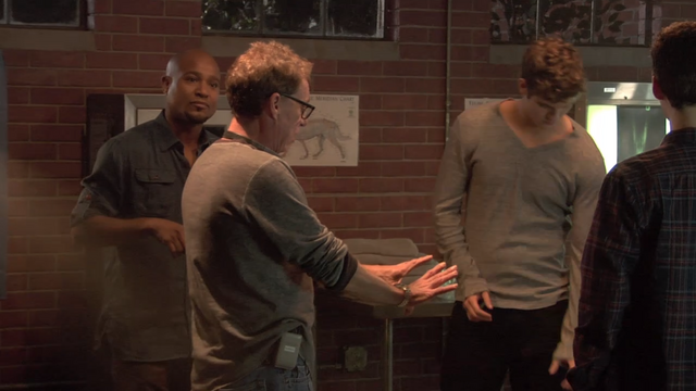File:Teen Wolf Behind the Scenes Animal Clinic Seth Gilliam Russell Mulcahy Daniel Sharman Dylan O'Brien.png
