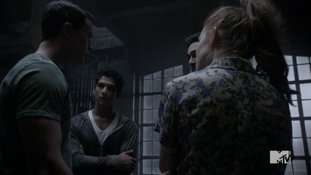 Datei:Teen Wolf Season 4 Episode 9 Perishable loft meeting of the supernaturals.png