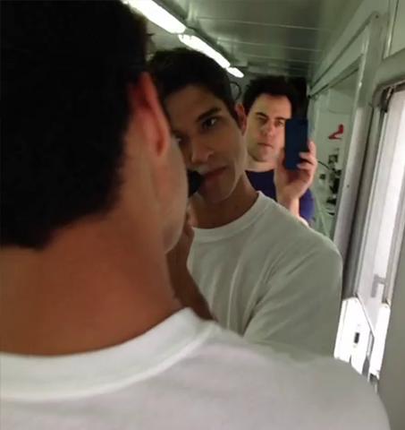 File:Teen Wolf Season 3 Behind the Scenes Orny Adams Tyler Posey Shaving.png