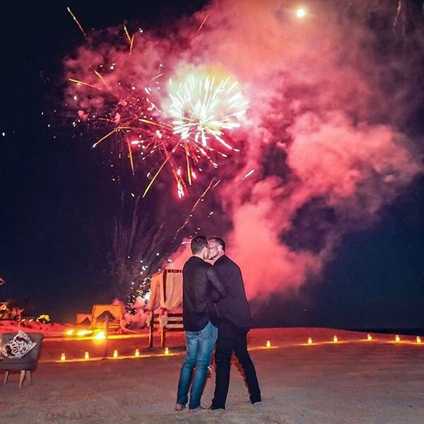 Colton Haynes Jeff Leatham engagement with fireworks
