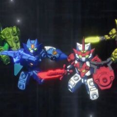 The Tenkai Knights (from left to right): Valorn, Tributon, Bravenwolf and Lydendor.