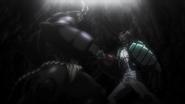 Keiji exchanging blows with the Terraformar