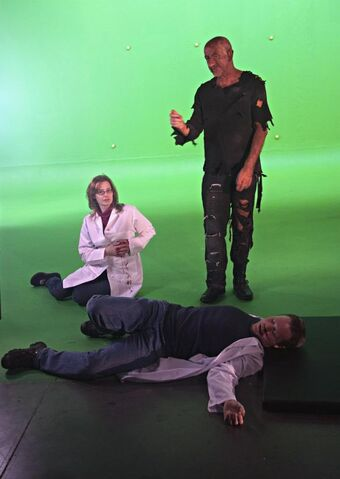 File:Tesla Directing in Morlock make-up backers Mat Van Rhoon and Cathy Hurley.jpg