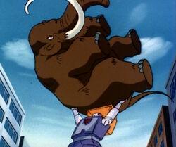 DinobotIsland2 Huffer carrying mammoth