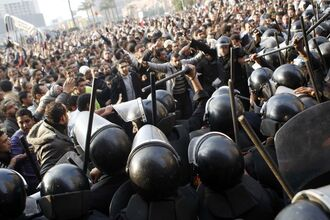 Police adn civics clash, omega