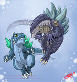 Zilla and Deko by KaijuSamurai