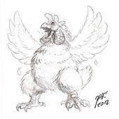 Kikiron, chickenlike alien - Concept art and character design by Matt Frank