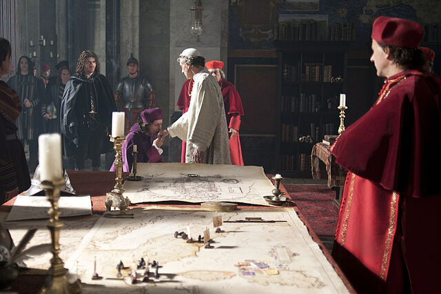 File:012 Relics episode still of Cesare Borgia, Rodrigo Borgia and Ascanio Sforza.jpg