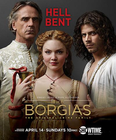File:001 Season three promo photo of Rodrigo Borgia, Lucrezia Borgia and Cesare Borgia.jpg
