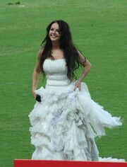 Sarah Brightman in a white gown