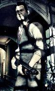 Sebastian waiting for the elevator holding a shotgun