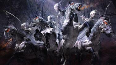 Skeleton on phantom horse