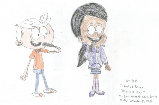 File:Lincoln Loud and Ronnie Anne singing a Duet.png