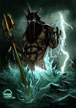 Poseidon Neptune Greek God Art 02 by Gokberk Kaya