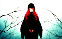 Girl red hair blood wings branch anime high contrast hd-wallpaper-392004