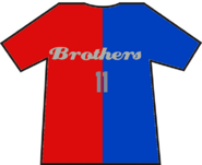 Brothers 11 split t shirt (red and blue)