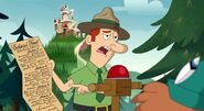 S2e10b forest ranger holding the rules of the enchanted forest