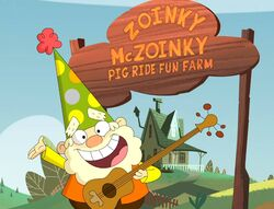 Zoink mczoinky pig ride fun farm sign