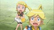 Clemont and Bonnie seeing Ash fall