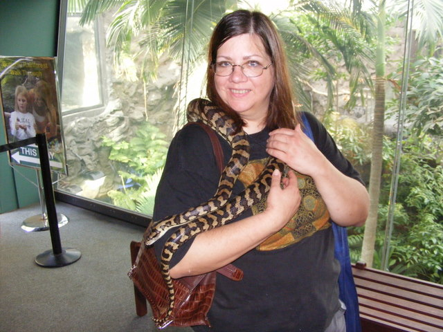 File:Diane snuggling snake.jpg