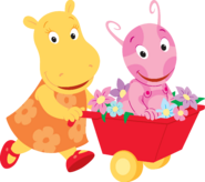 The Backyardigans Uniqua and Tasha with Wheelbarrow Nickelodeon Nick Jr. Characters
