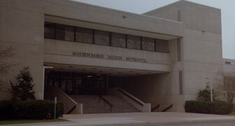 The front entrance of Shermer High