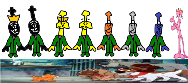File:Donald, Douglas, Bill, Ben, Bash, Dash, Ferdinand, The Pink Panther, and the Dogs as The Teensies..png
