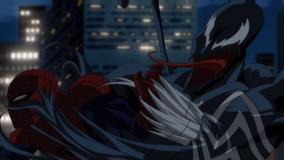 Spider-Man fighting off Venom