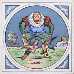 Minton Hollins & Co - Humourous Sporting Scenes - Cock-fighting - 8inch