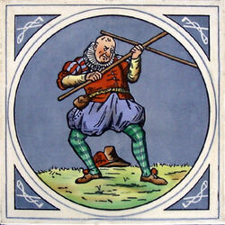 Minton Hollins & Co - Humourous Sporting Scenes - Quarter-staff - 8inch