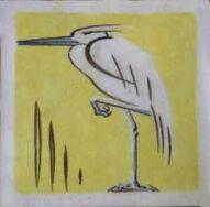 Stork 2 Dunsmore Tiles Polly Brace c1930 Minton Blank