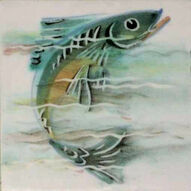 Fish 1 Dunsmore Tiles Polly Brace c1956 Minton Blank