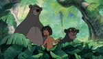 Mowgli Baloo the bear and Bagheera the Black Panther are looking at Shanti
