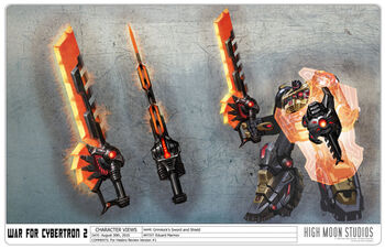 Transformers Fall of Cybertron - Concept Art Grimlock- SwordShield 555
