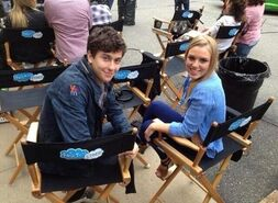 Isaac-Monica on set