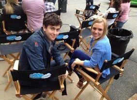 Isaac-Monica on set