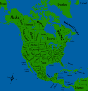 America Map WIth States, provinces,territories and Names