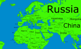 Map of Europe Three Fourths Asia, Two Thirds Africa